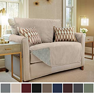Gorilla Grip Original Slip Resistant Loveseat Slipcover Protector, Seat Width Up to 54 Inch Suede-Like, Patent Pending, 2 Inch Straps, Hook, Furniture Cover for Kids, Dogs, Pets, Love Seat, Taupe