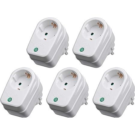 Perfecthd Steckdosenadapter Mit Überspannungsschutz Zwischenstecker Blitzschutz 5er Set Weiß 2 Varianten Beleuchtung