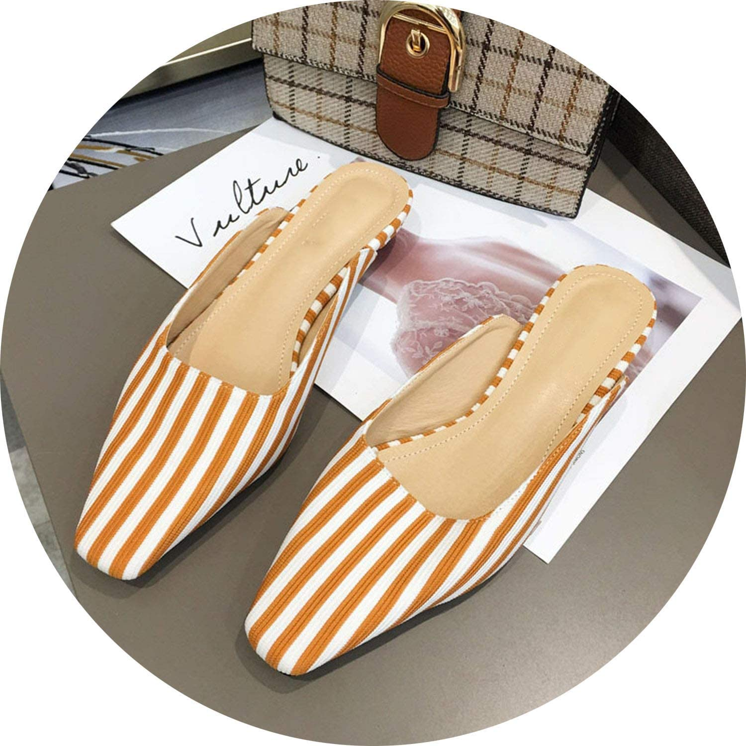 FINDYOU Fashion Strip Mules Women Flats Slippers Ladies Slides shoes Spring Cute Slippers Mules Ladies High Slippers