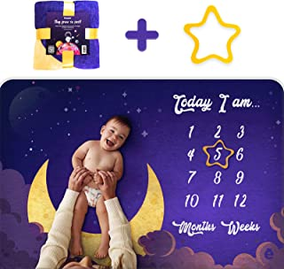 Keeper All Baby Monthly Milestone Blanket for Baby Boy and Girl, New Photo Blanket for Newborn Baby Shower 2020, Space Moon Trend Design, Includes Premium Organic Star Frame, Large 60x40