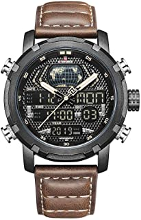Naviforce Casual Watch For Men Analog-Digital Leather - NF9160 B-Y-BN