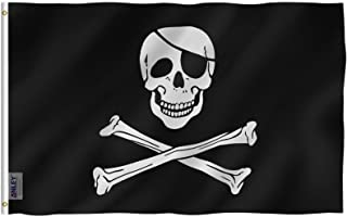 ANLEY [Fly Breeze] 3x5 Foot Jolly Roger Flag with Patch - Vivid Color and UV Fade Resistant - Canvas Header and Double Sti...