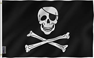 Anley Fly Breeze 3x5 Foot Jolly Roger Flag with Patch - Vivid Color and UV Fade Resistant - Canvas Header and Double Stitched - Pirate Flags Polyester with Brass Grommets 3 X 5 Ft