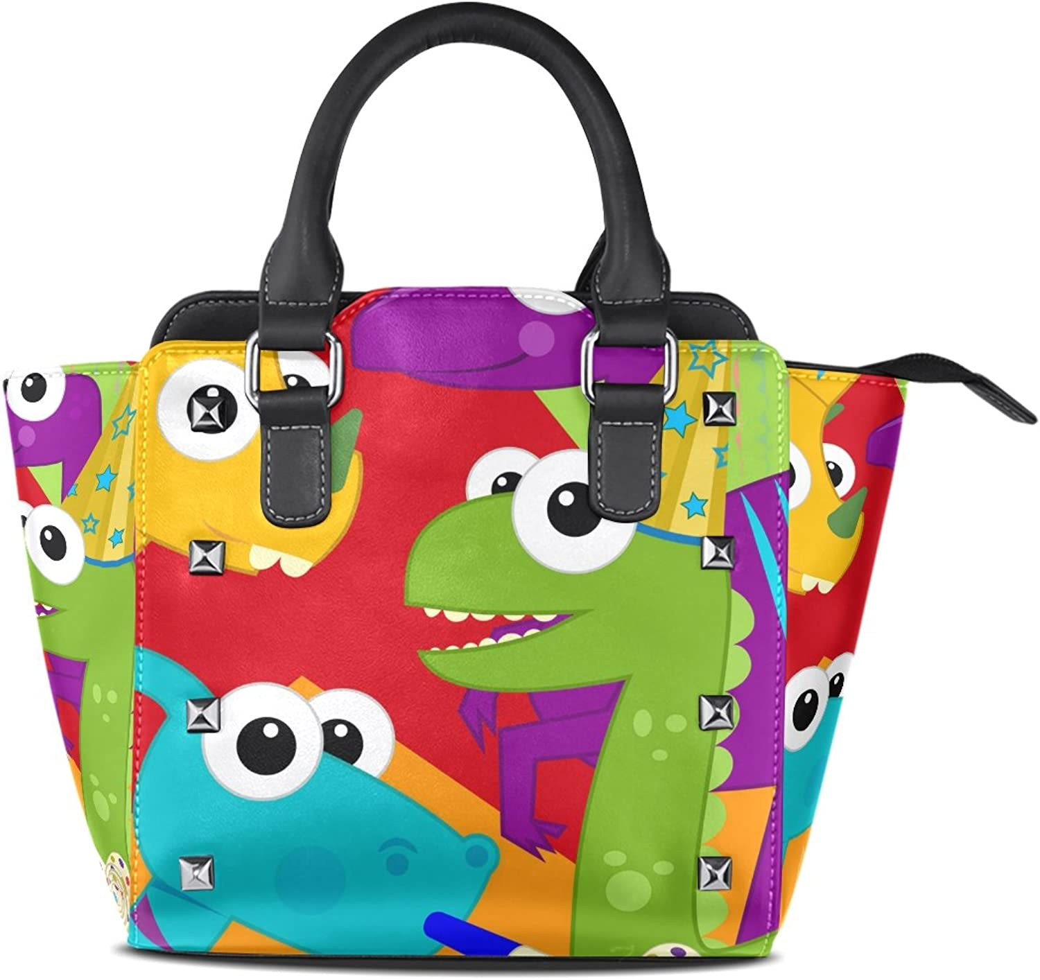 My Little Nest Women's Top Handle Satchel Handbag colorful Dinosaur Birthday Ladies PU Leather Shoulder Bag Crossbody Bag