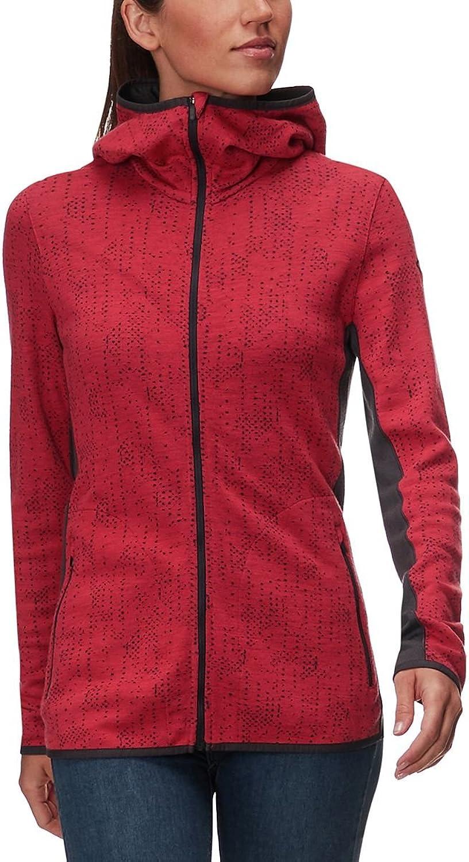 Icebreaker Merino Women's Away Long Sleeve Zip Hood Showers, Poppy Red Monsoon, M