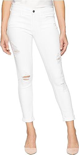 Heartbreaker Crop Skinny with Roll Cuff in White