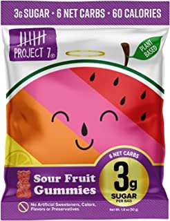 Project 7 Low Sugar Sour Fruit Gummy Bears – Keto-Friendly & Vegan Gummies With 3g Sugar, 6g Net Carbs & Low Calorie (60) ...