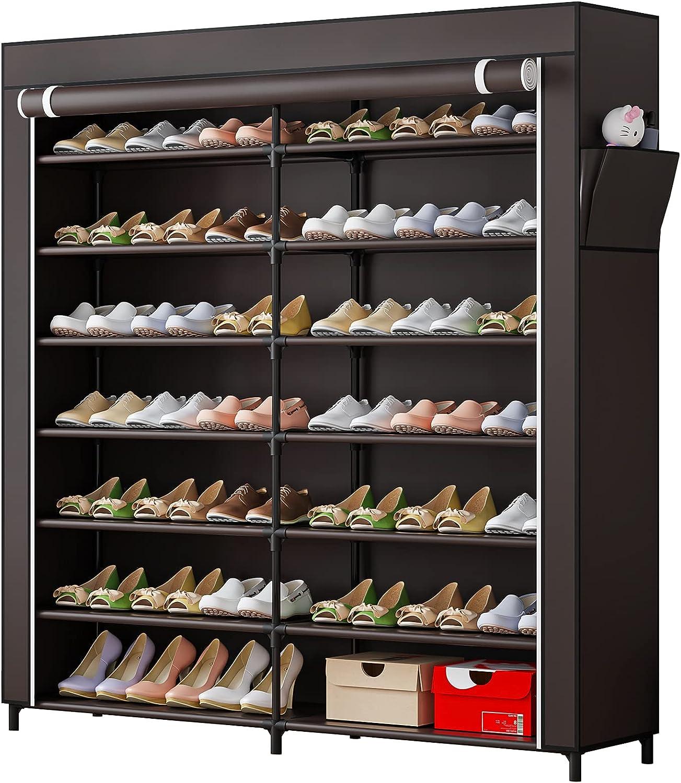7-Tier Shoe Rack Storage Organizer Japan Maker New Portable Double Pairs overseas 42 Row
