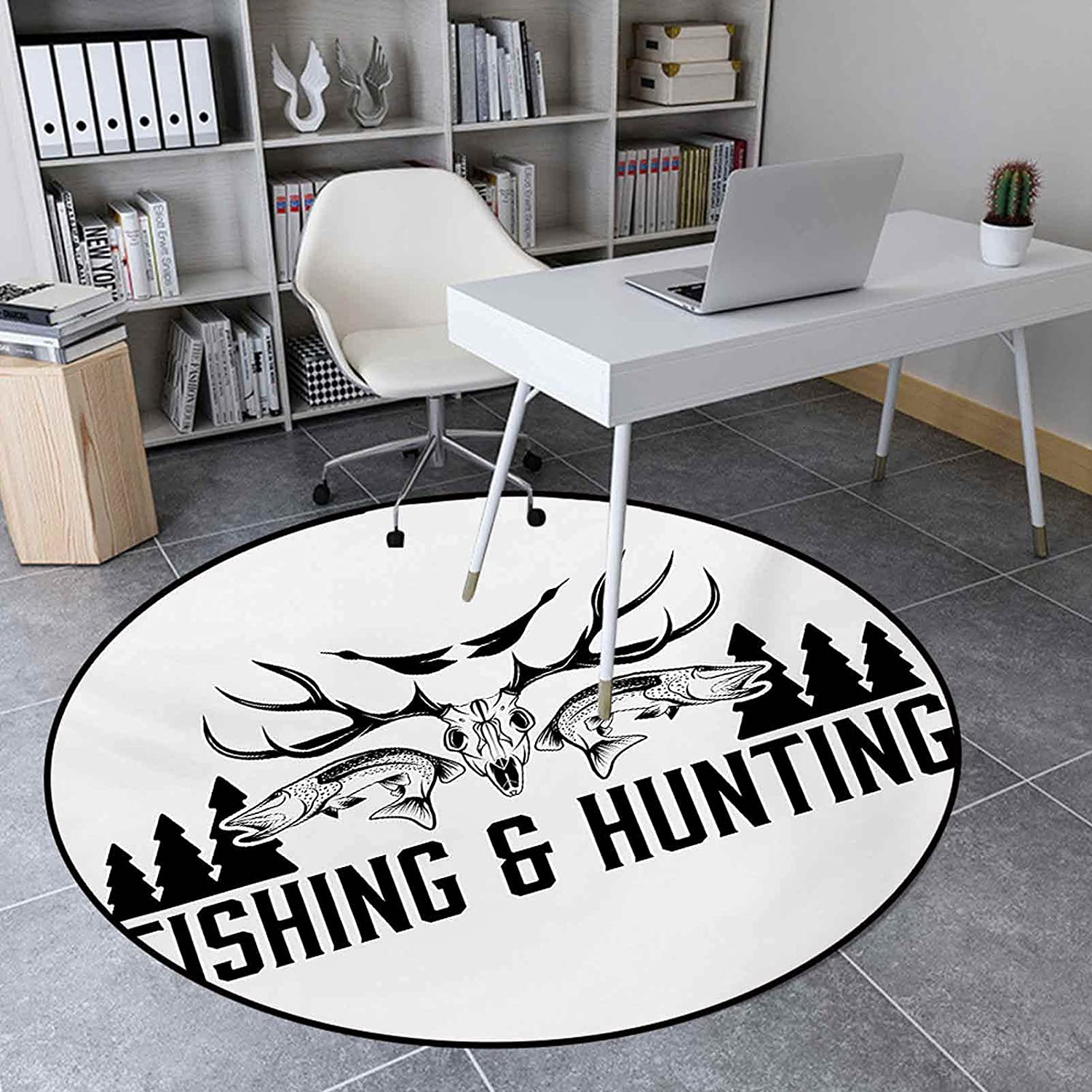 Round Area Ranking TOP15 Rug 3.3 Ft Indoor Floor Mat High order Room for Hunting Living