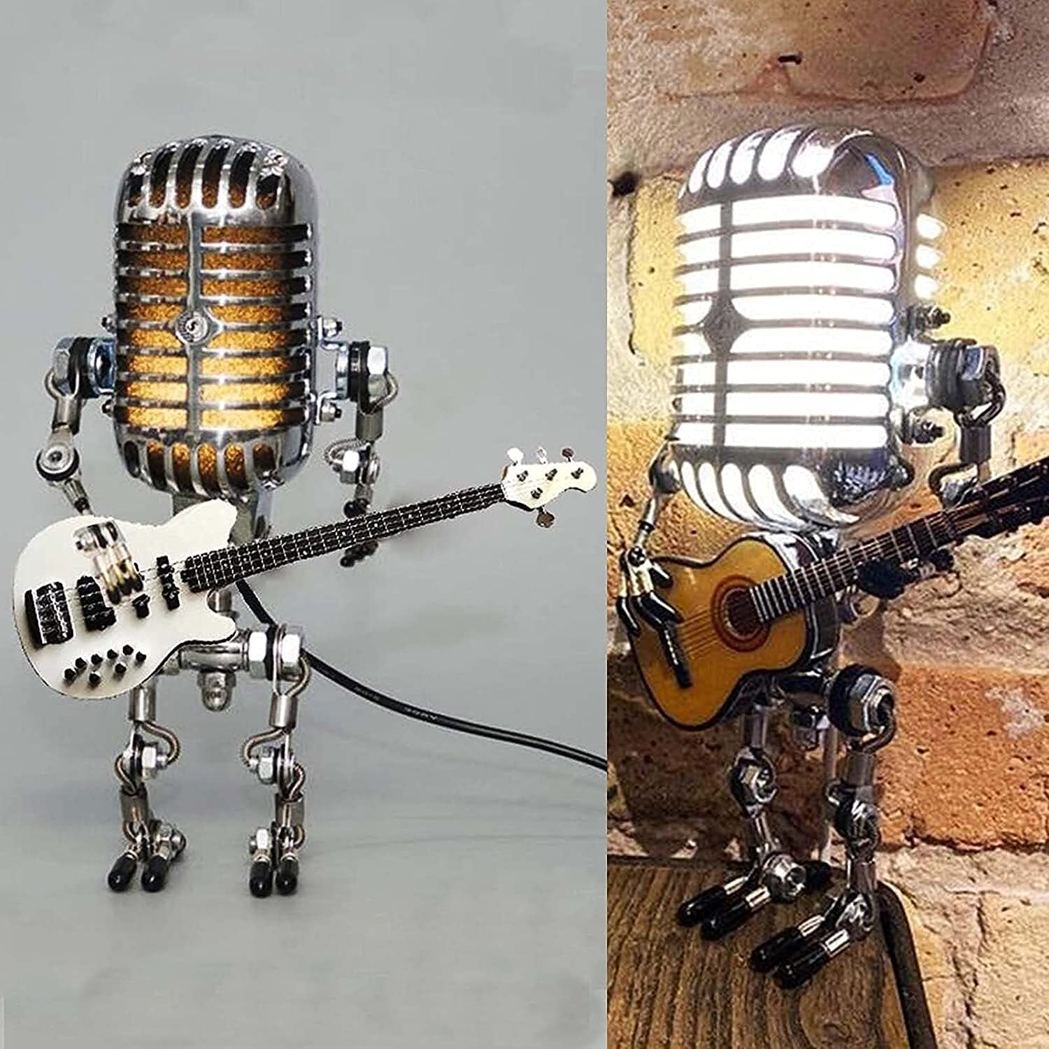 Bombing free shipping Vintage Microphone Robot Night Light T Creative gift