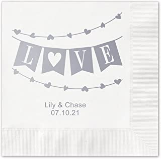Banner Love Personalized Beverage Cocktail Napkins - 100 Custom Printed White Paper Napkins with choice of foil