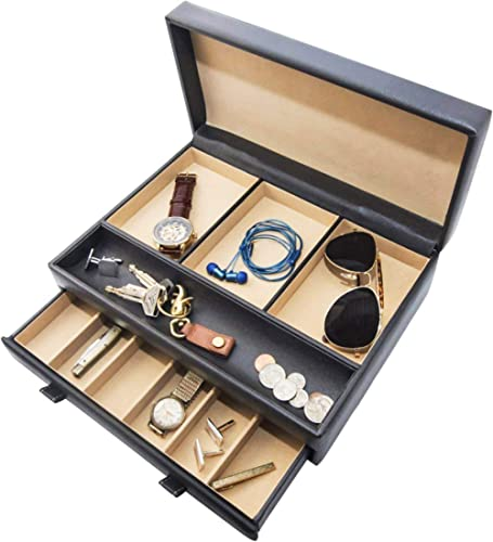 Stock Your Home Watch Box with Valet Drawer for Dresser - Mens Jewelry Box with Multiple Compartments - Jewelry Case ...