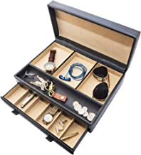 Stock Your Home Watch Box with Valet Drawer for Dresser – Mens Jewelry Box with..