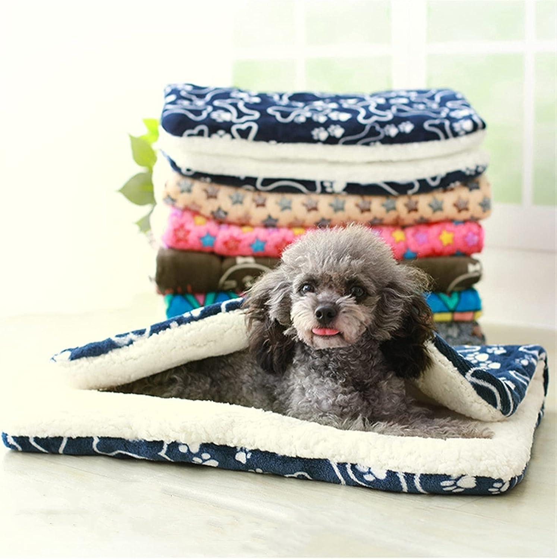 YSJJLRV Pet mats Dog Bed Soft High order Fleece Raleigh Mall Winter Print Thickened