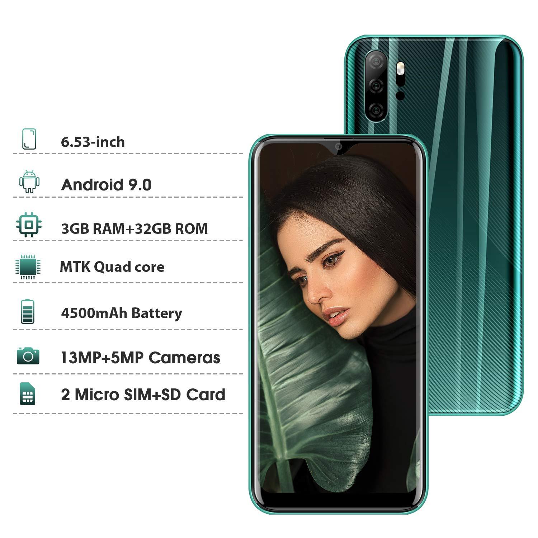Moviles Libres 4G, Smartphone Libre Dual SIM 6,53 Pulgadas Android 9.0 Quad Core 3GB RAM + 32GB ROM (Escalable 128 GB) Cámara 13MP + 5MP 4500mAh Batería Moviles Buenos (Verde): Amazon.es: Electrónica
