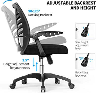 NOBLEWELL Ergonomic Office Chair Mid Back Mesh Computer Desk Chair with Lumbar Support, Flip-up Arms, Adjustable Backrest, Sw