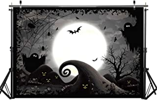 Haboke 7x5ft Halloween Nightmare Before Christmas Themed Photography Backdrop Horror Night Full Moon Pumpkin Photo Backdground for Jack Kid Party Decorations Wall Decor Booth Props