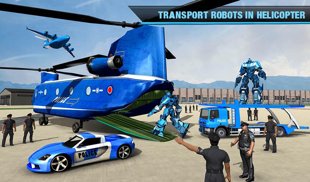 US Police Transform Robot Car Transport Game – Helicopter Transporter Simulator 2018
