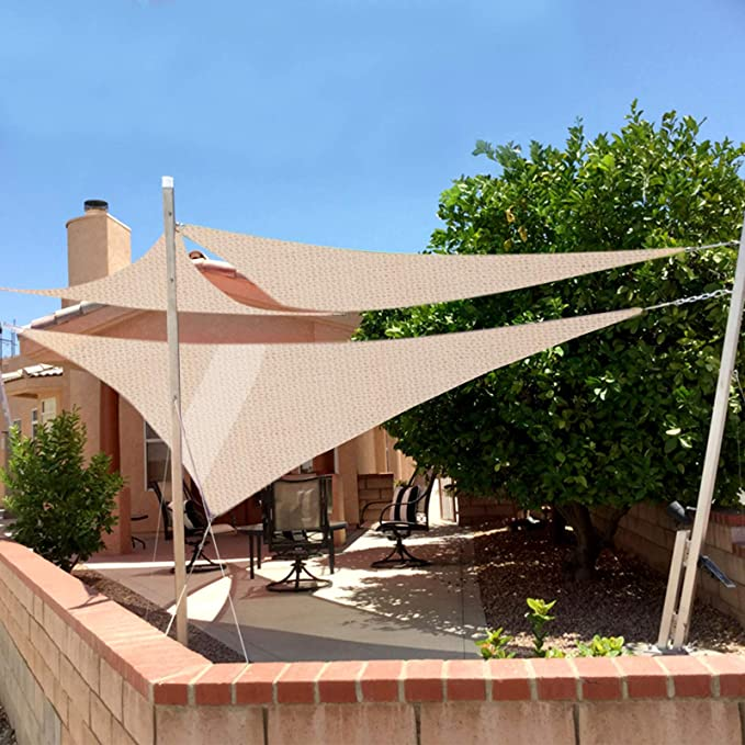 Laneetal Toldo Vela de Sombra Cuadrado Bloquear UV Transpirable Resistente para jardín Exteriores HDPE 2 x 2 m Crema
