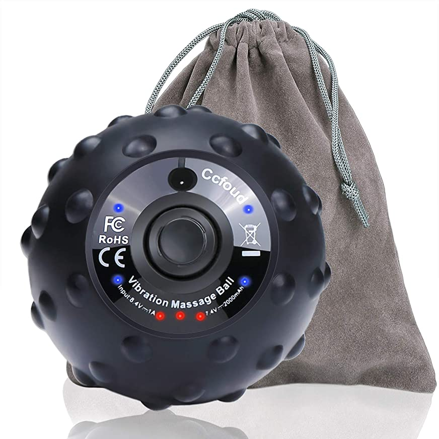 無許可地下排泄物マッサージボール 電動 ストレッチボール ヨガボール 4段階振動調整 筋膜リラックス 筋膜リリース 疲労回復 持ち運び 携帯 一年保証