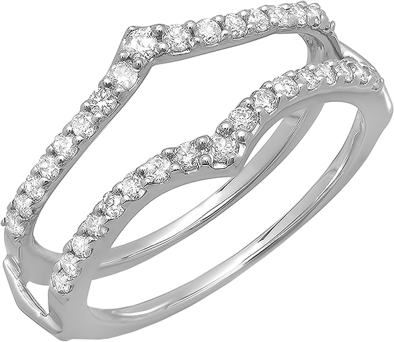 Dazzlingrock Collection 0.50 Carat (ctw) Round White Diamond Stylish V Shaped Chevron Double Wrap Enhancer Guard Wedding Ring for Ladies 1/2 CT, 14K White Gold
