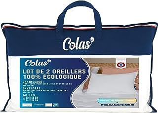 Colas Normand - Lot de 2 Oreillers Eco-responsable - Moelleux - 45x70cm - Enveloppe & Garnissage issu de bouteilles recycl...