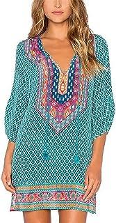 Linson123 Womens Dress Chiffon Skirt V-Neck Print Pleated Skirt Long-Sleeved Dress