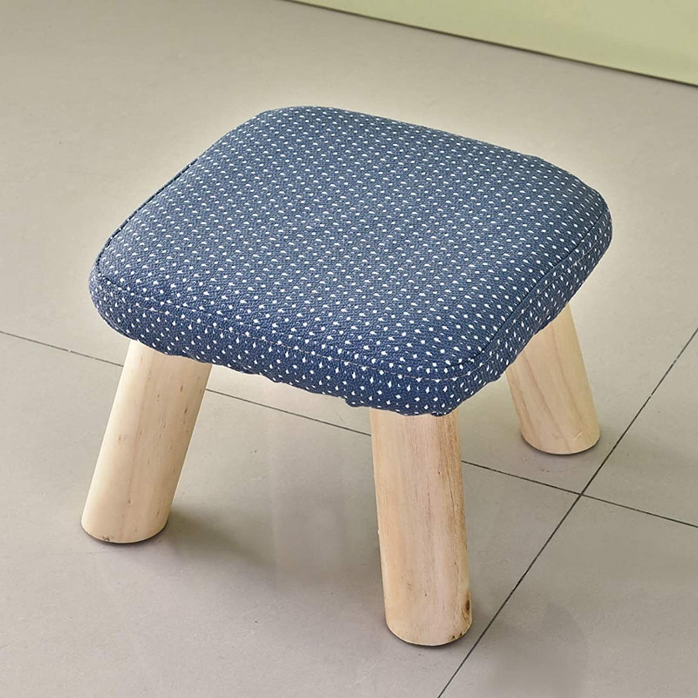 LRW Small Stool Solid Wood Fashion Square Stool Cloth Sofa Stool Household Tea Stool Stool Bench