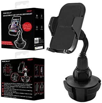 Macally Adjustable Automobile Cup Holder Phone Mount for iPhone Xs XS Max XR X 8 8+ 7 7 Plus 6s Plus 6s SE Samsung Ga...