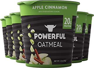 Powerful   Apple Cinnamon   High Protein Instant Oatmeal   Natural Ingredients   20g Protein (6 Count)