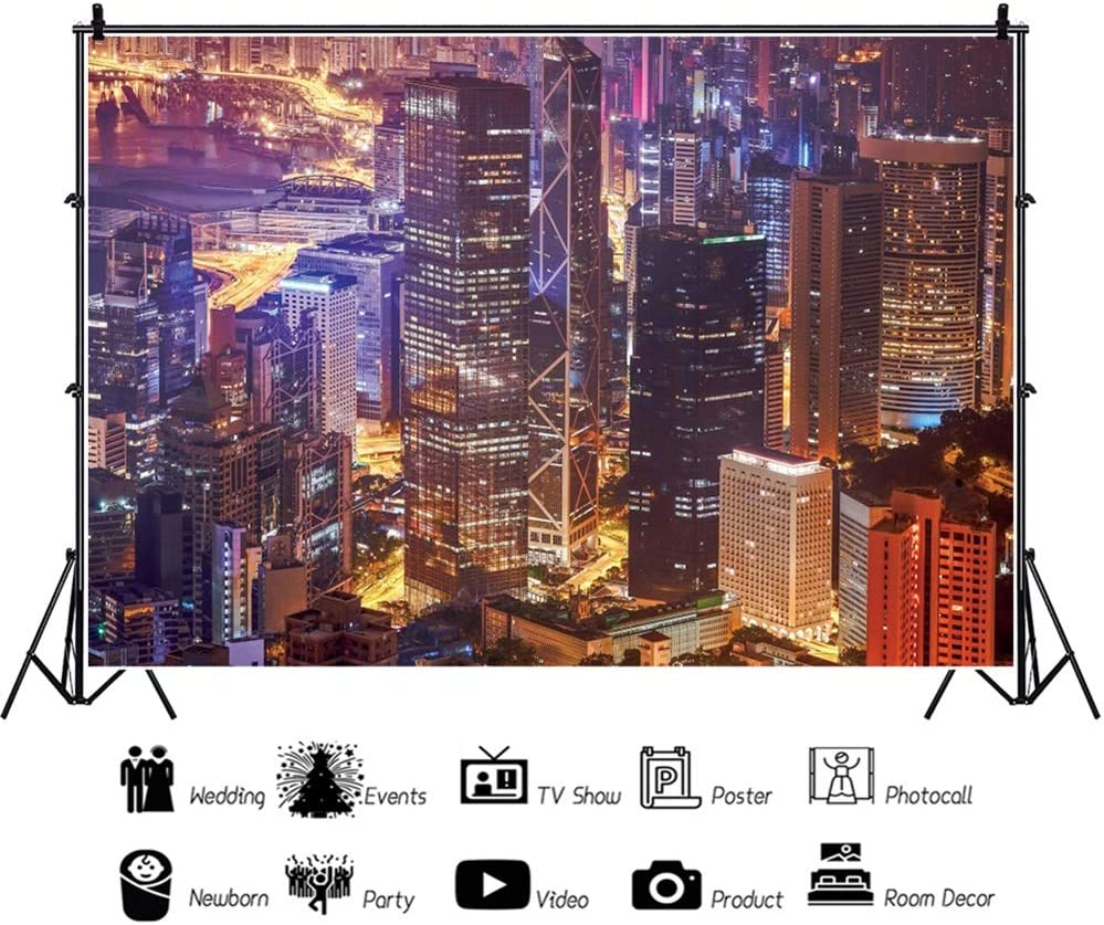 Leowefowa 12x8ft New York City Nightscape Backdrop Vinyl Skyline Photography Background Child Kids Adult Photo Shoot Studio Photo Booth Props Work at Home Video Meeting Wallpaper