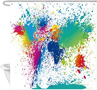NYMB Colorful Abstract Paint Inkjet 69X70 inches Polyester Fabric Shower Curtain Set Fantastic Decorations Bath Curtain
