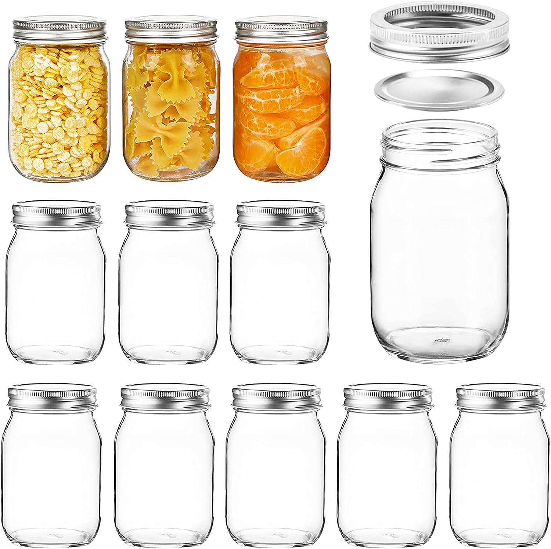 Homerove 16oz Mason Topics on TV Glass Jars wi Pint Containers 12pcs Canning Regular dealer