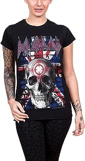 T Shirt Union Jack Skull Band Logo Official Womens Junior Fit Black