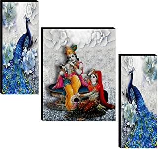 SAF Set of 3 Radha Krishna with couple peacock wall painting home décor items paintings for living room with frame wall dé...