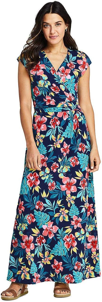 Lands' End Women's Cap Sleeve Surplice Wrap Maxi Dress - Print