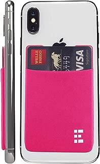 Cell Phone Credit Card Holder Stick On Wallet Case w/RFID Blocking (Fuchsia)