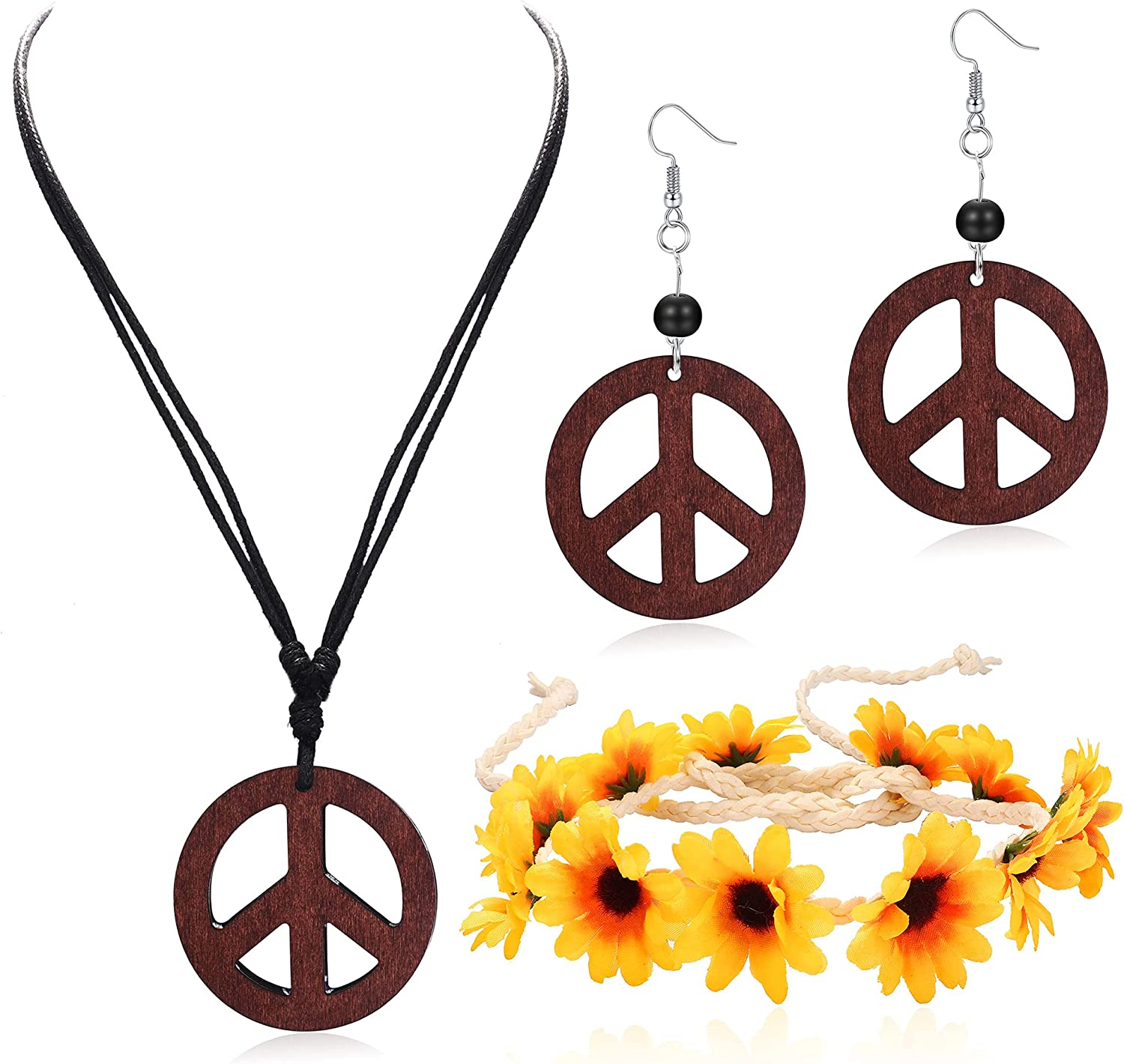 ORAZIO Hippie Costume Set for Women Peace Sign Necklace Peace Sign Earring Flower Crown Headband 60s 70s Party Accessories Jewelry Set