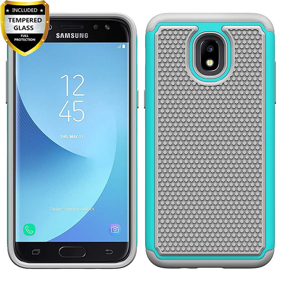 Telegaming For Samsung Galaxy J7 2018/J7 Aero/J7 Top/J7 Refine/J7 Star/J7 Eon/J7 Crown/J7 Aura Case With Tempered Glass Screen Protector, Dual Layer Armor Shock Absorption Hard Back Cover Teal