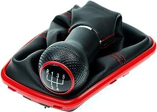 L/&P Car Design GmbH 251-1 Funda para Palanca de Cambio con Costura Roja con Pomo y Marco Cromado