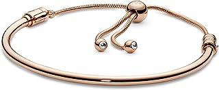 "Pandora Jewelry Moments Slider Bangle Cubic Zirconia Bracelet in Pandora Rose, 6.7"""