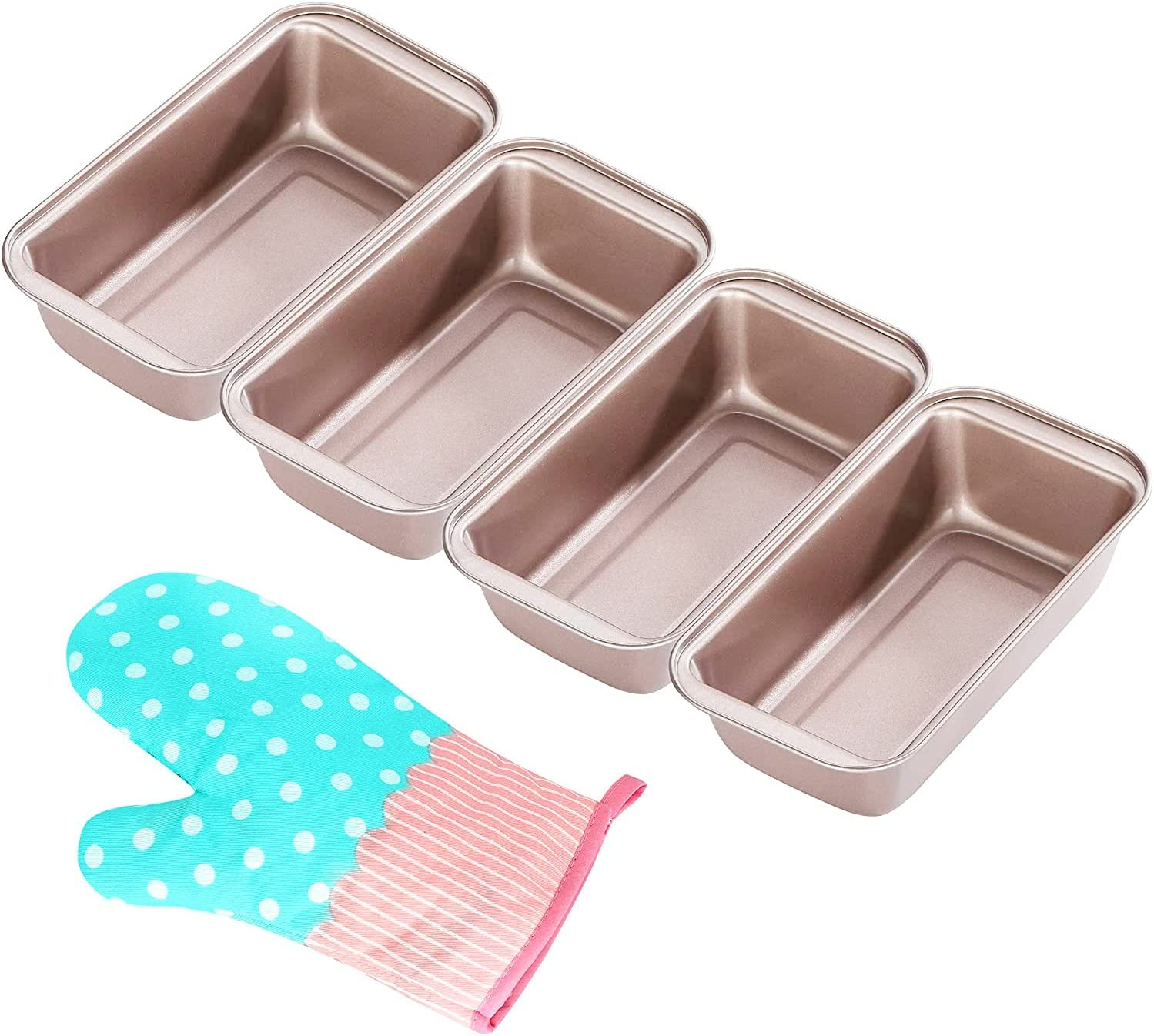 DOYOLLA Loaf Pan for Bread Baking, Set of 4 Non-stick Bread Toast Box Bakeware & Oven Mitt For Professional & Home Bakers - Gold/0.99 Lb Capacity