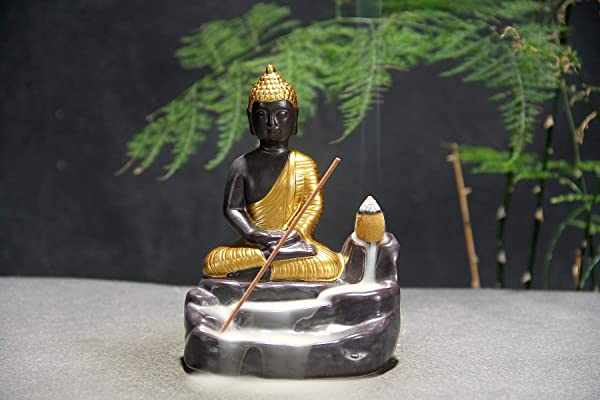 J K Backflow Incense Holders Zen Buddha Waterflow Fountain Incense Sticks Burner Figurine Incense Cone Holders Home Decor Statue Ornaments Gold