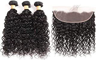 VTAOZI Brazilian Water Wave Bundles with Frontal 100% Virgin Human Hair Wet Wavy Bundles with Frontal Lace Closure 8A Curly Hair Bundles with 13x4 Ear to Ear Lace Frontal (10 12 14+10 Frontal)