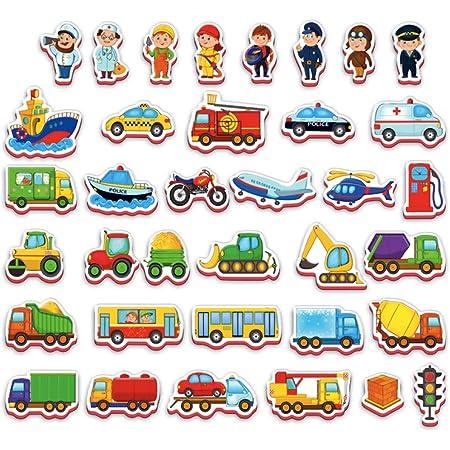 Magneti frigo per bambini VEICOLI E PROFESSIONI 36 pz - 2 anni - Bambini 2 anni - Bambini giochi - Giocattoli ragazze and giocattoli ragazzo - Giochi bambina 2 anni - Calamite bambini - Magneti