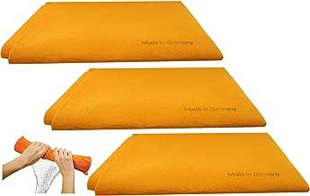 The Original German Shammy 3PK German Shammy Towels Super Absorbent Chamois Cloths, Large, 20x27 Inch (Orange, MT7TPT5)