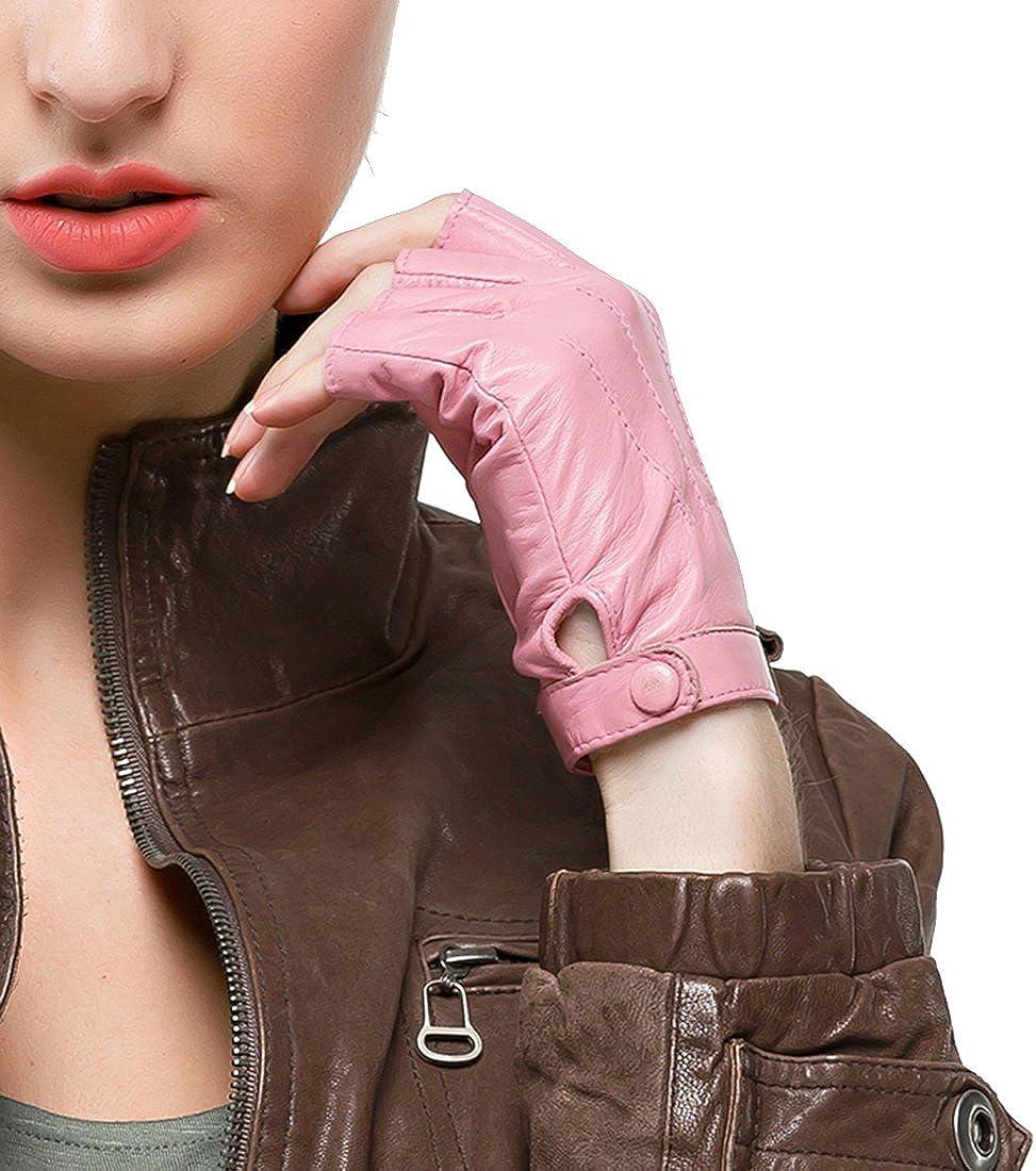 Women Driving Nappa Leather Gloves Half Finger Fingerless Lined Gloves for Nappaglo