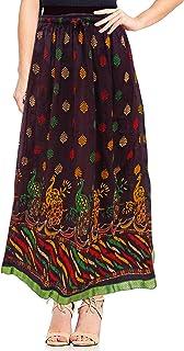 Peegli Gonna Lunga Rossa Indiana da Donna Casual Abbigliamento Cucito in Cotone Stampato Pavone Gonna
