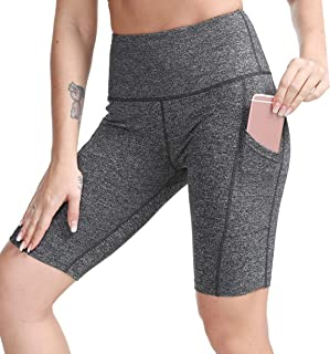 "TYUIO Women's 8"" High Waist Yoga Shorts,Running Workout Active Shorts Half Tights w Pockets"