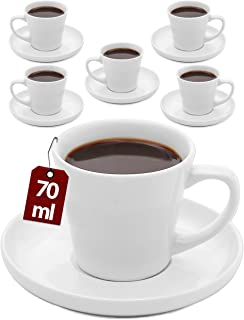 Tasse a Cafe Expresso en Ceramique - Lot de 6 Tasses avec Soucoupes - Lavable au Lave-vaisselle - 70ml